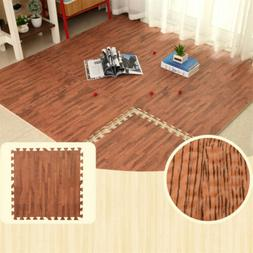 1/2'' Thick Set Interlocking Floor Mat 96 Sq Ft Wood Grain F