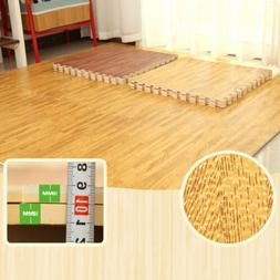 96 Sq Ft Wood Grain Interlocking Floor Mats EVA Foam Premium