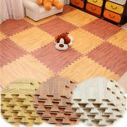 96SQ 60CM Wood Grain EVA Foam Floor Mats Gym Puzzle Interloc