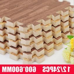 96SQ Wood Grain Exercise Floor Mat EVA Foam Tiles GYM Fitnes