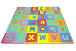 Matney Kid's Foam Floor Alphabet and Number Puzzle Mat, Mult