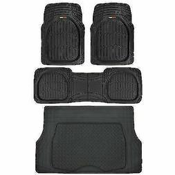 Motor Trend 4pc Black Car Floor Mats Set Rubber Tortoise Lin