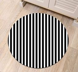 LB Black White Stripe Round Area Rug Mat, Simple Striped Pat