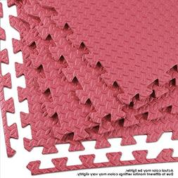 Clevr 96 SqFt Steel EVA Red Foam Floor Mat Interlocking Tile