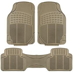 FH Group F11306BEIGE Tan All Weather Floor Mat, 3 Piece