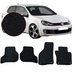 Floor Mats Fits 2010-2014 VW MKIV Golf & GTI | Black Nylon F
