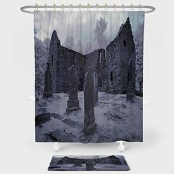 iPrint Gothic Decor Shower Curtain And Floor Mat Combination