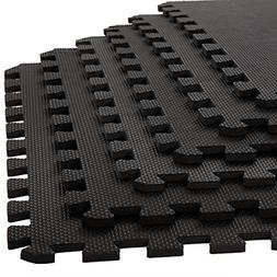Stalwart 6 Pack Interlocking EVA Foam Floor Mats Black 24x24
