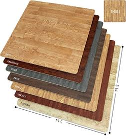 Sorbus Interlocking Floor Mat Print, Wood Grain - Light