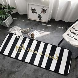 Home and Kitchen Rugs Door Mat Black and White Striped Non S