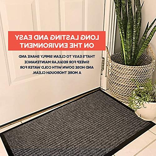 2-Pack Indoor Outdoor Floor Mats x All Door Mats Traffic Black Shoe Mat with Backing