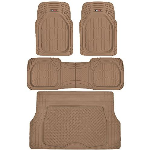 Motor Trend 4pc Beige Car Floor Mats Set Rubber Tortoise Lin