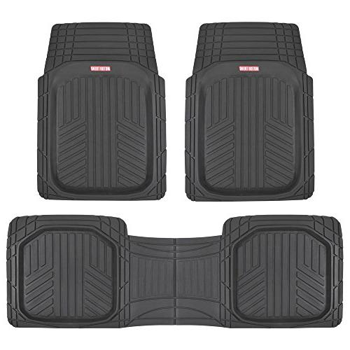 Motor Trend OF-933-BK Deep Dish Floor All-Climate Weather Plus Duty Liners Odorless