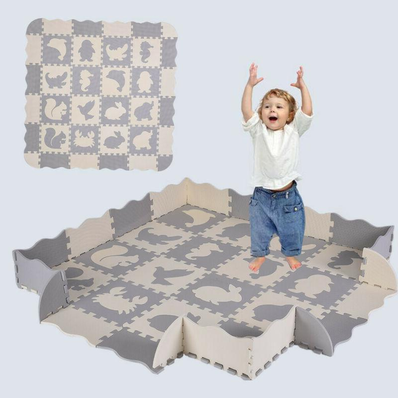with Fence Interlockin Foam Floor Tiles with Crawling Mat Ho