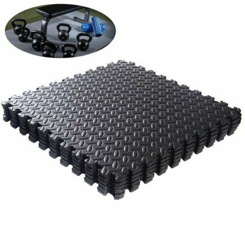 Black Interlocking Mat Yoga Exercise Gym Fitness Gymnastics