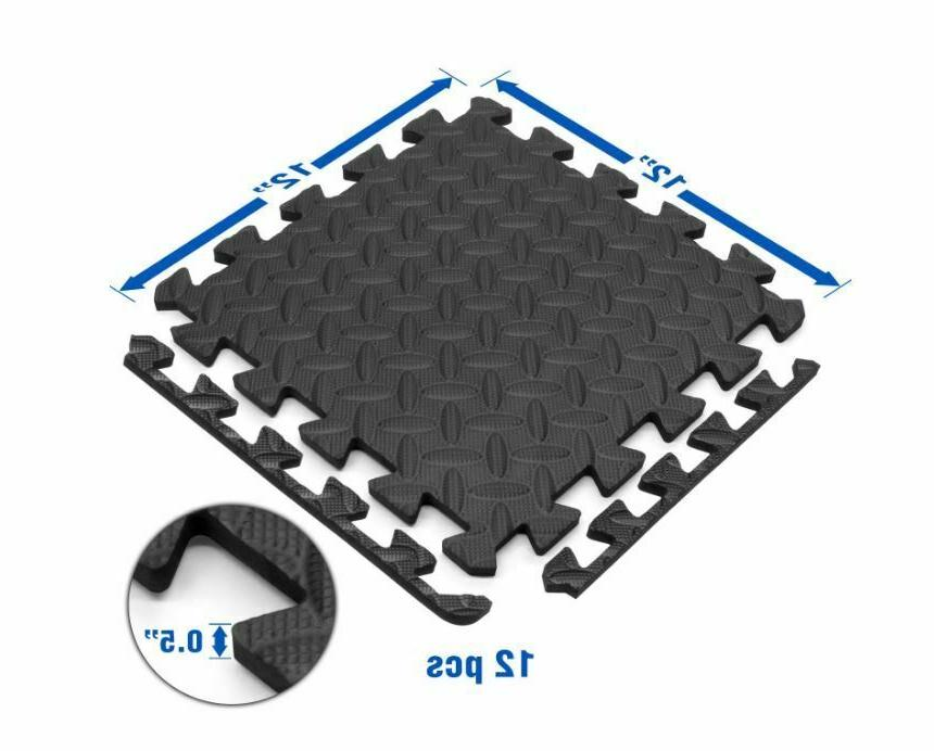 Floor Mat RUBBER FLOORING Tiles Garage Home Fitness Workout Mats
