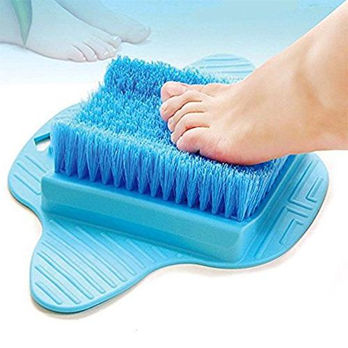 foot scrubber brush with hanging hooks exfoliating