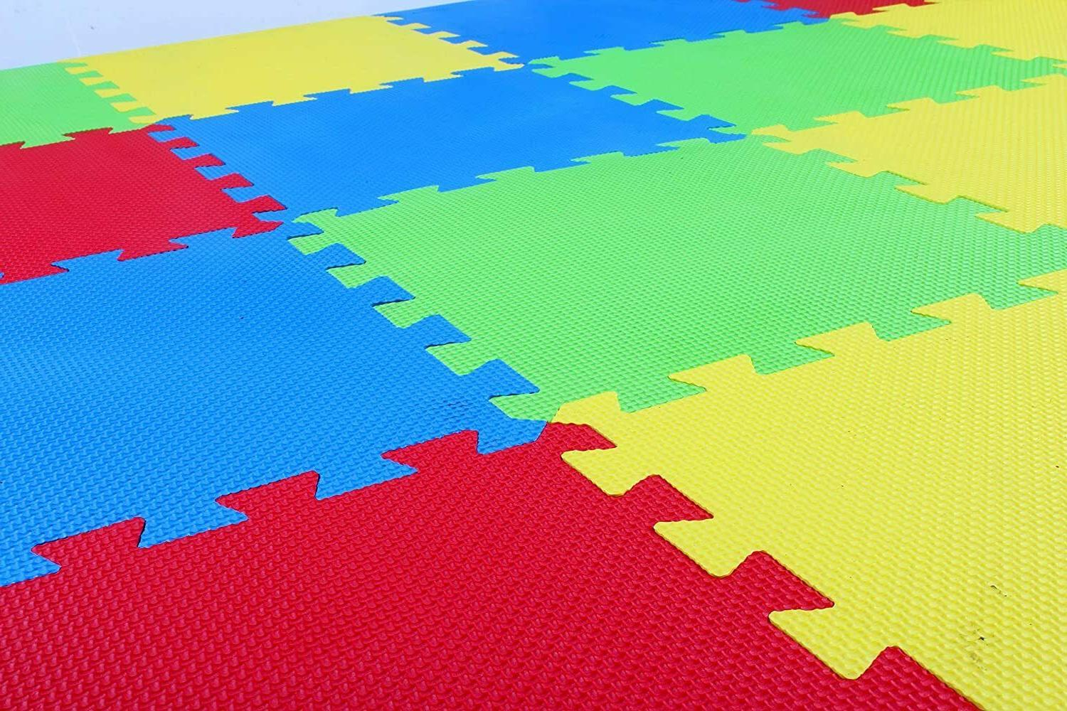 Kids Puzzle Exercise Mat with Interlocking 16 4 Color