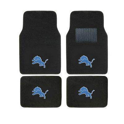 New 4pcs NFL Detroit Lions Car Truck Front Rear Carpet Floor