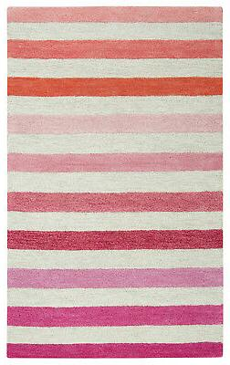 Rizzy Rugs Pink Banded Rows Bars Lines Contemporary Area Rug
