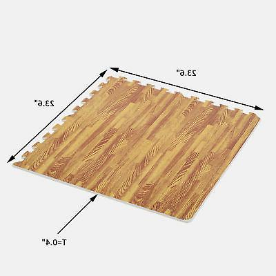 Soozier 72 SqFt Wood Grain EVA Mat Tiles