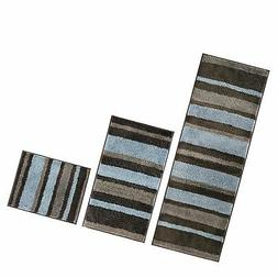 mDesign Striped Microfiber Polyester Spa Rugs for Bathroom V