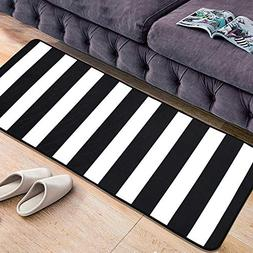 "USTIDE Modern Black and White Striped Rug 23.6""x70""Nonslip K"