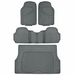 MotorTrend FlexTough Rubber Floor Mats Cargo Set Gray Heavy