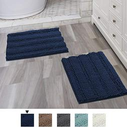 Navy Blue Bathroom Rugs Ultra Thick and Soft Texture Chenill