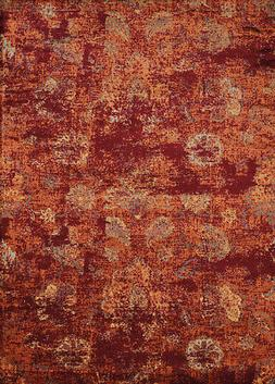 Red Contemporary Synthetics Distressed Rings Petals Area Rug