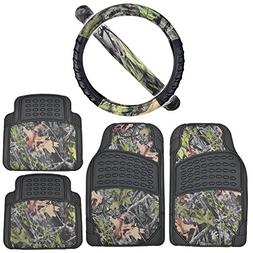 Rubber Car Floor Mats Black - Camo Inlay w/ Comfort Grip Ste