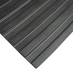 """Wide Rib"" Rubber Flooring Mat - 1/8"" Thick x 4ft x 6ft - Bl"