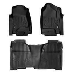 SMARTLINER Floor Mats 2 Row Liner Set Black for Crew Cab 201