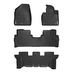 SMARTLINER Floor Mats 3 Row Liner Set Black for 2016-2019 Ki