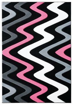 United Weavers Pink Waves Angled Curves Contemporary Area Ru